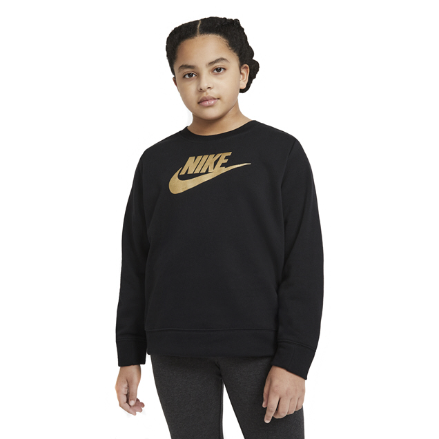 Nike Girls' Swoosh Shine FT Crew Top, Black