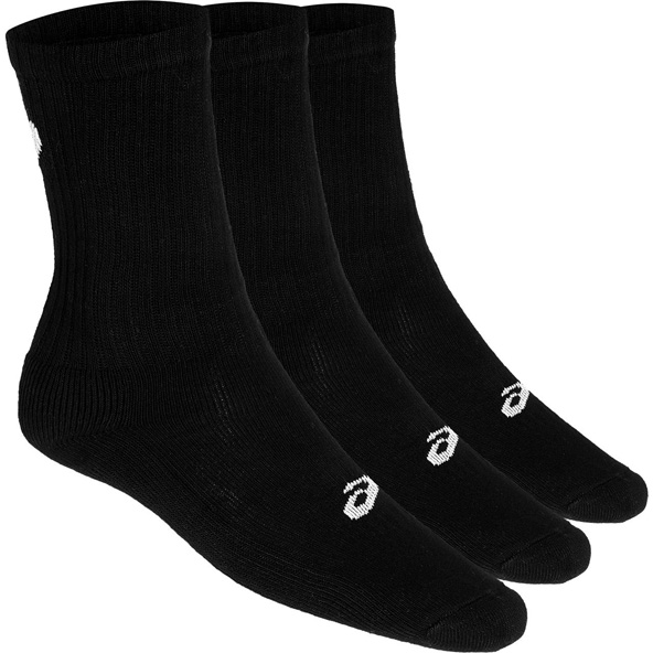 Asics 3 Pack Men's Crew Socks, Black