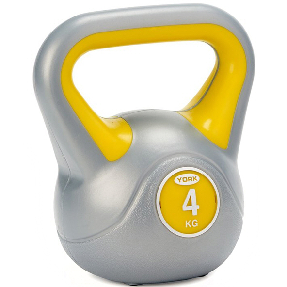 York Vinyl Kettlebell - 4kg, Grey/Yellow