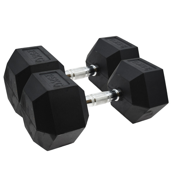 Vector X Hex Dumbbells - Rubber 2 x 25kg