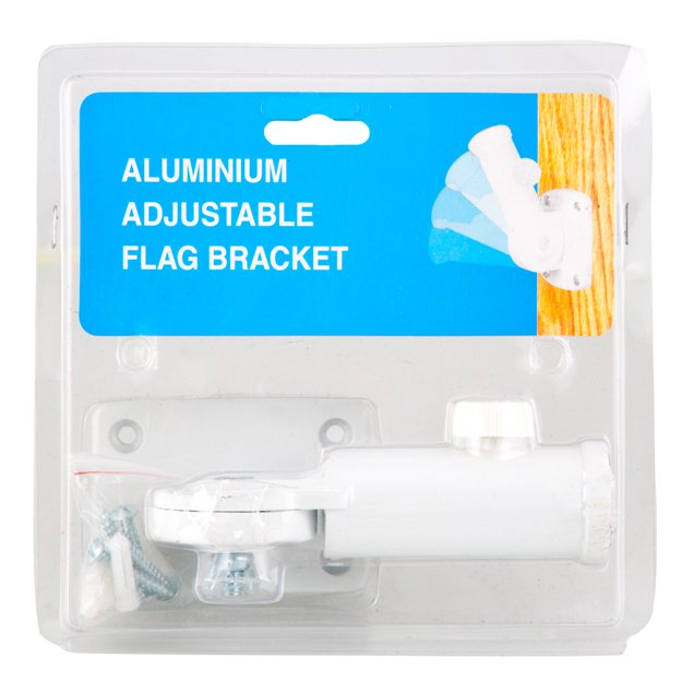 Aluminium Adjustable Flag Bracket, White