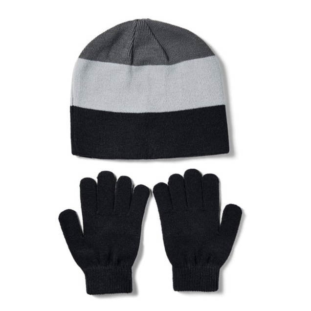 UA  Boys' Beanie Glove Combo Black