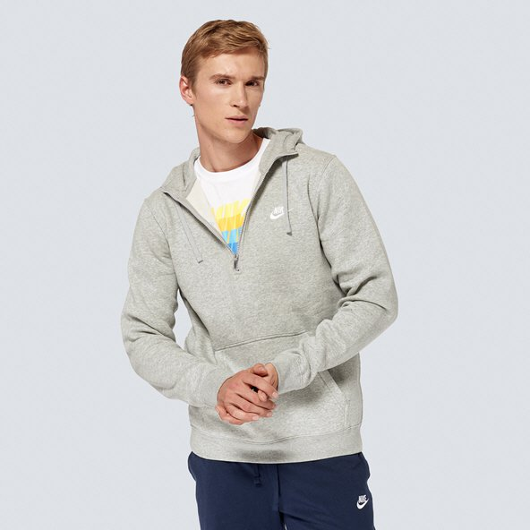 Nike Swoosh Club Mens ½-Zip Hoody, Grey