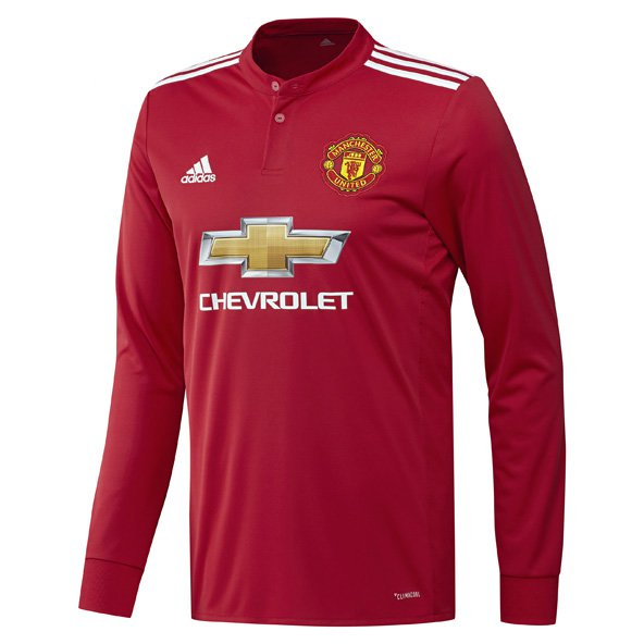 adidas Man United 2017/18 LS Home Jersey, Red