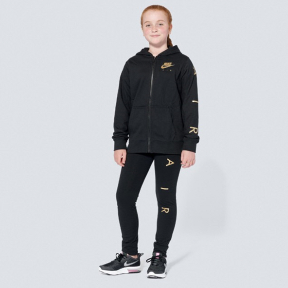 Nike Swoosh Air Girls FZ Flc Hoody Blac