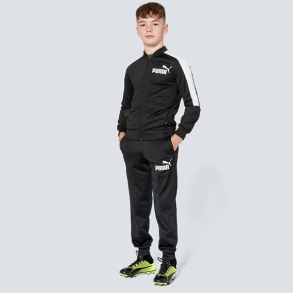 Puma Baseball Collar Boys' Tracksuit, Black