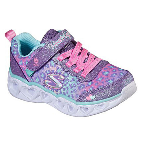 Skechers Heart Lights Junior Girls' Trainer, Purple / Pink