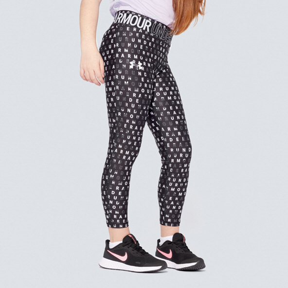 UA HG Printed Ankle Crop Girls Black