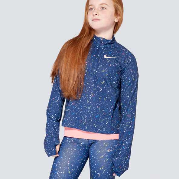 Nike Pro Warm Shine Girls' Half Zip Top Blue