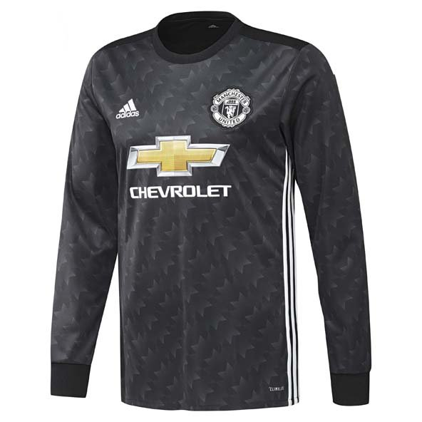 adidas Man United 2017/18 LS Away Jersey, Black