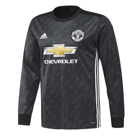 adidas Man United 2017/18 Kids' LS Away Jersey, Black