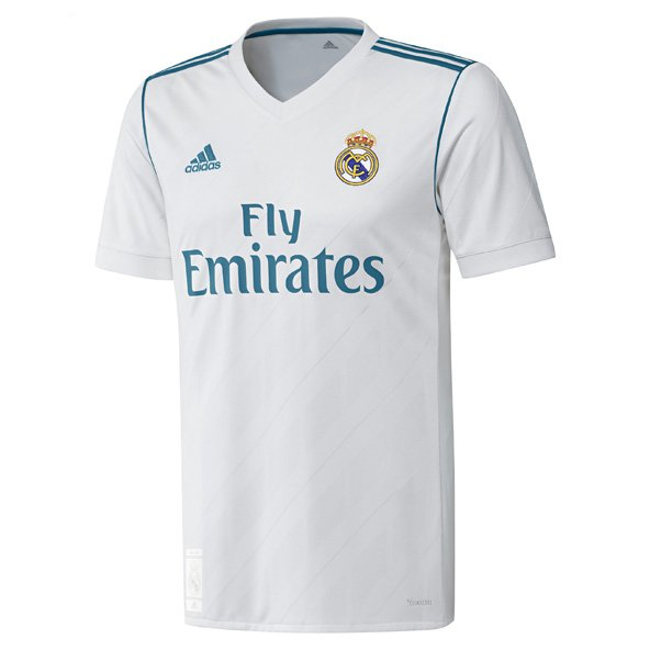 adidas Real Madrid 2017/18 Kids' Home Jersey, White