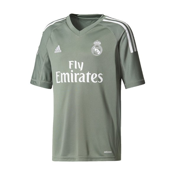 adidas Real Madrid 2017/18 Kids' Home GK Jersey, Green