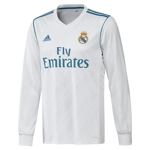 adidas Real Madrid 2017/18 Kids' LS Home Jersey, White