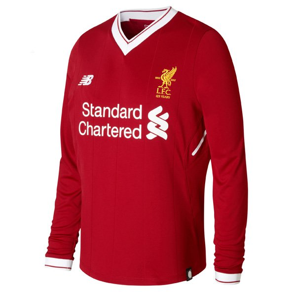 New Balance Liverpool 2017/18 Kids' LS Home Jersey, Red